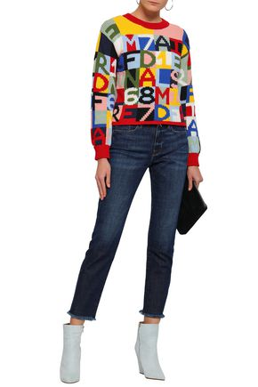 FRAME Intarsia cotton-blend sweater