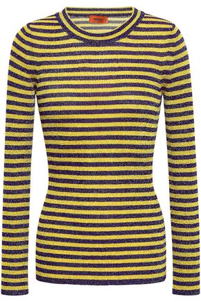 MISSONI Striped metallic crochet-knit top