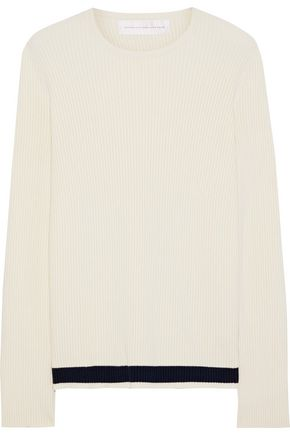 VICTORIA, VICTORIA BECKHAM Split-back ribbed-knit sweater