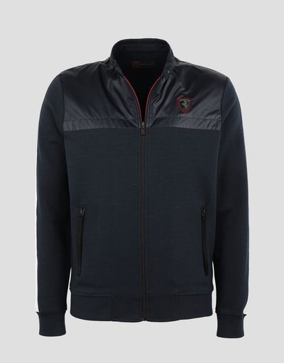 Scuderia Ferrari Online Store - Men's sweater in Interlock with full zip - Zip Jumpers
