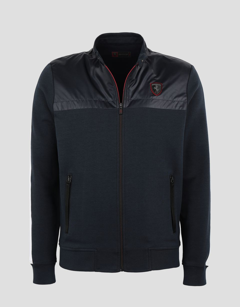 Scuderia Ferrari Online Store - Men's interlock sweatshirt with full zipper - Zip Sweaters
