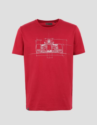 Scuderia Ferrari Online Store - Men's cotton T-shirt with car print - Short Sleeve T-Shirts