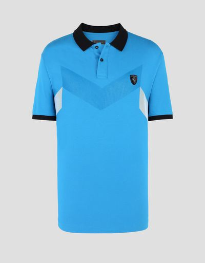 Scuderia Ferrari Online Store - Men's stretch cotton piquet polo - Short Sleeve Polos