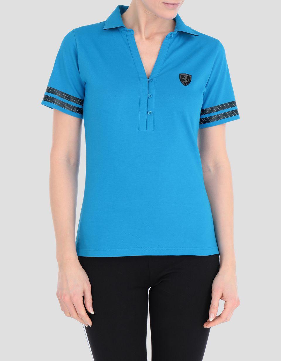 Scuderia Ferrari Online Store - Women's Scuderia Ferrari polo shirt in stretch piqué - Short Sleeve Polos
