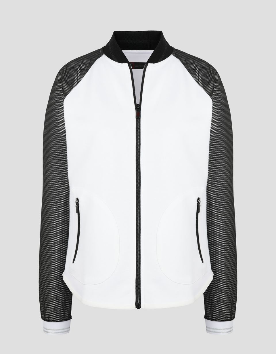 Scuderia Ferrari Online Store - Women's double knit top with silver sleeves - Zip Jumpers