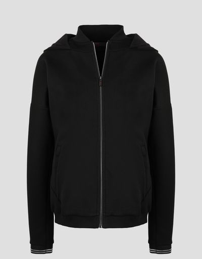 Scuderia Ferrari Online Store - Women's double knit sweatshirt with laurel embroidery - Zip Hood Jumpers