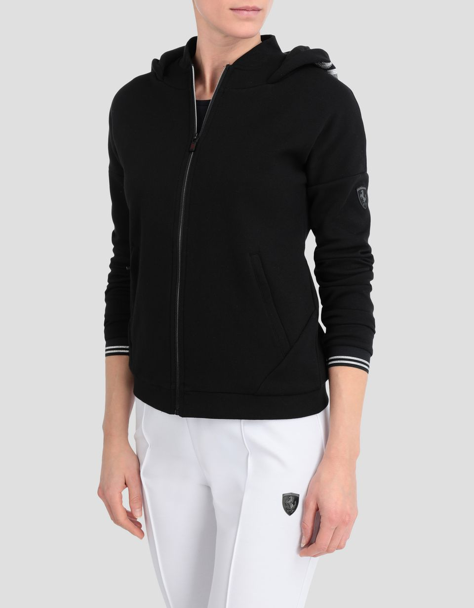 Scuderia Ferrari Online Store - Women's double knit sweater with laurel embroidery - Zip Hood Sweaters