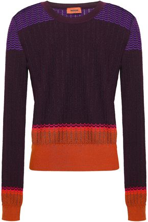MISSONI Color-block crochet-knit wool-blend sweater