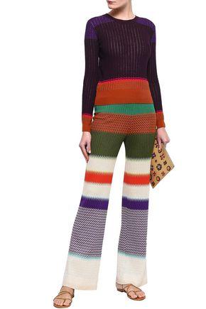 MISSONI Color-block crochet-knit wool-blend sweater