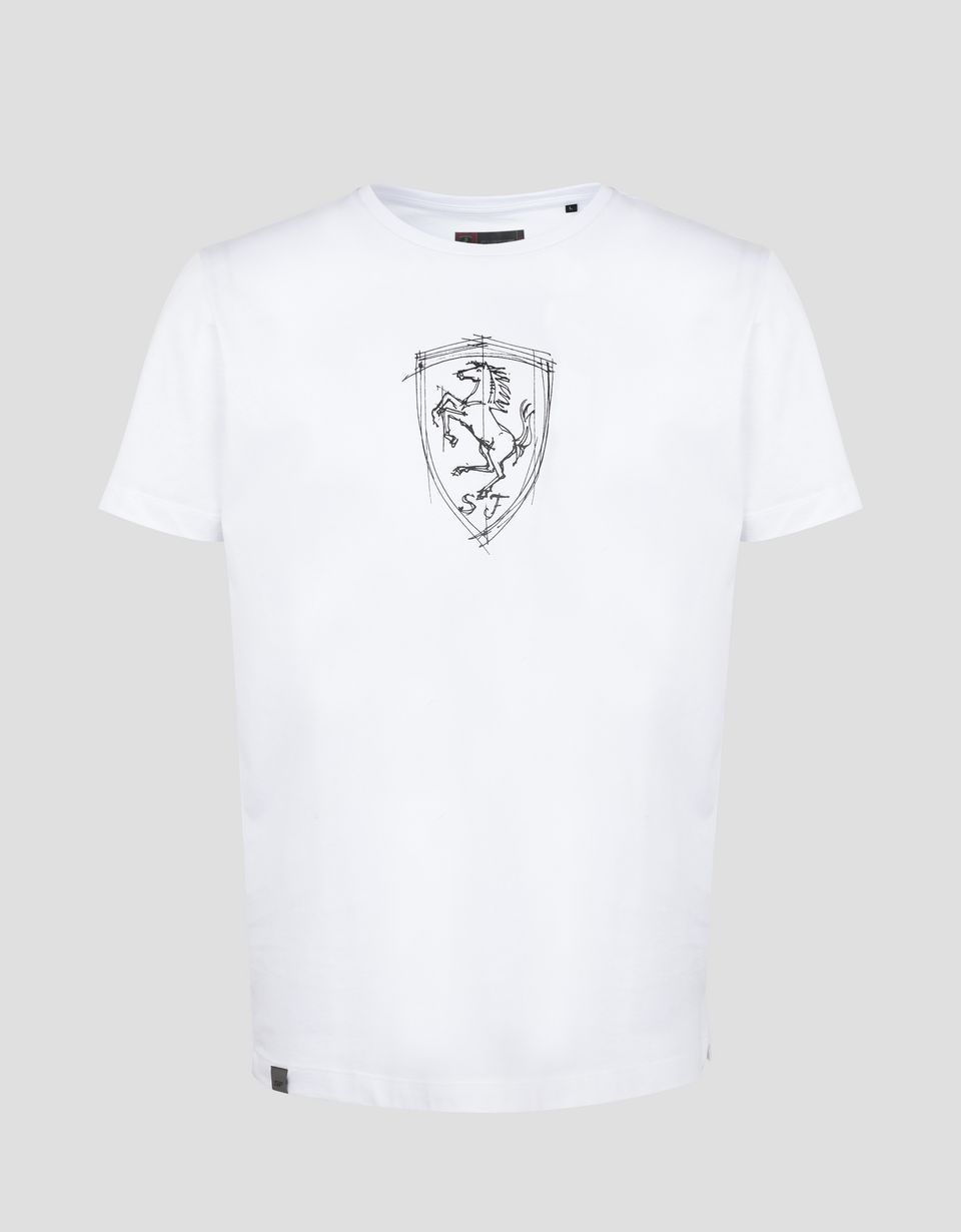 Scuderia Ferrari Online Store - Men's T-shirt in cotton jersey with print - Short Sleeve T-Shirts