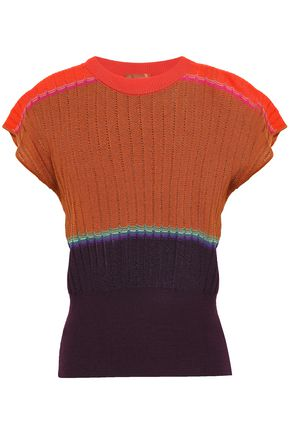 MISSONI Color-block ribbed wool-blend top