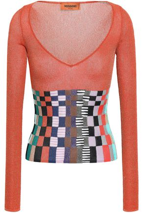 MISSONI Paneled metallic crochet-knit top