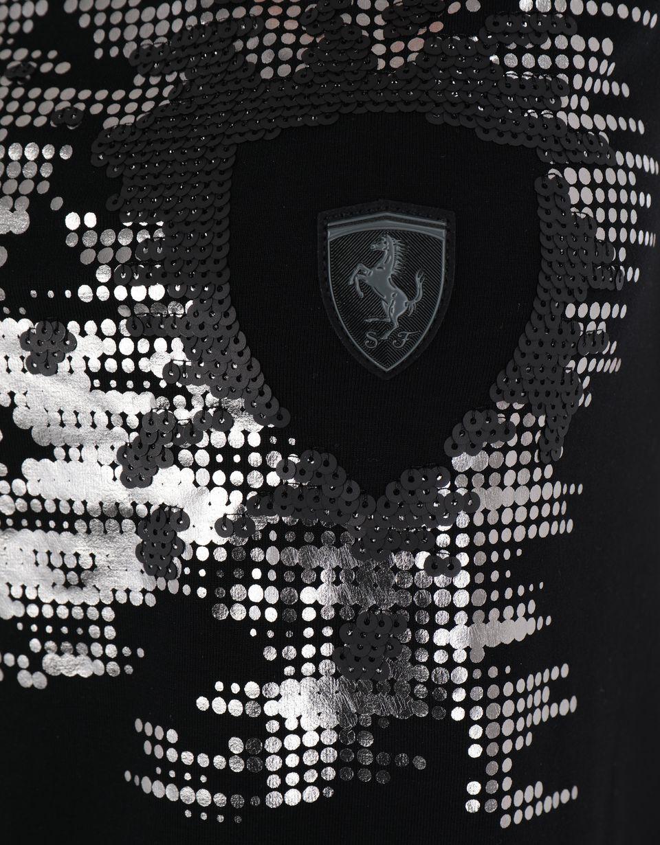 Scuderia Ferrari Online Store - Women's Scuderia Ferrari sequin T-shirt - Short Sleeve T-Shirts