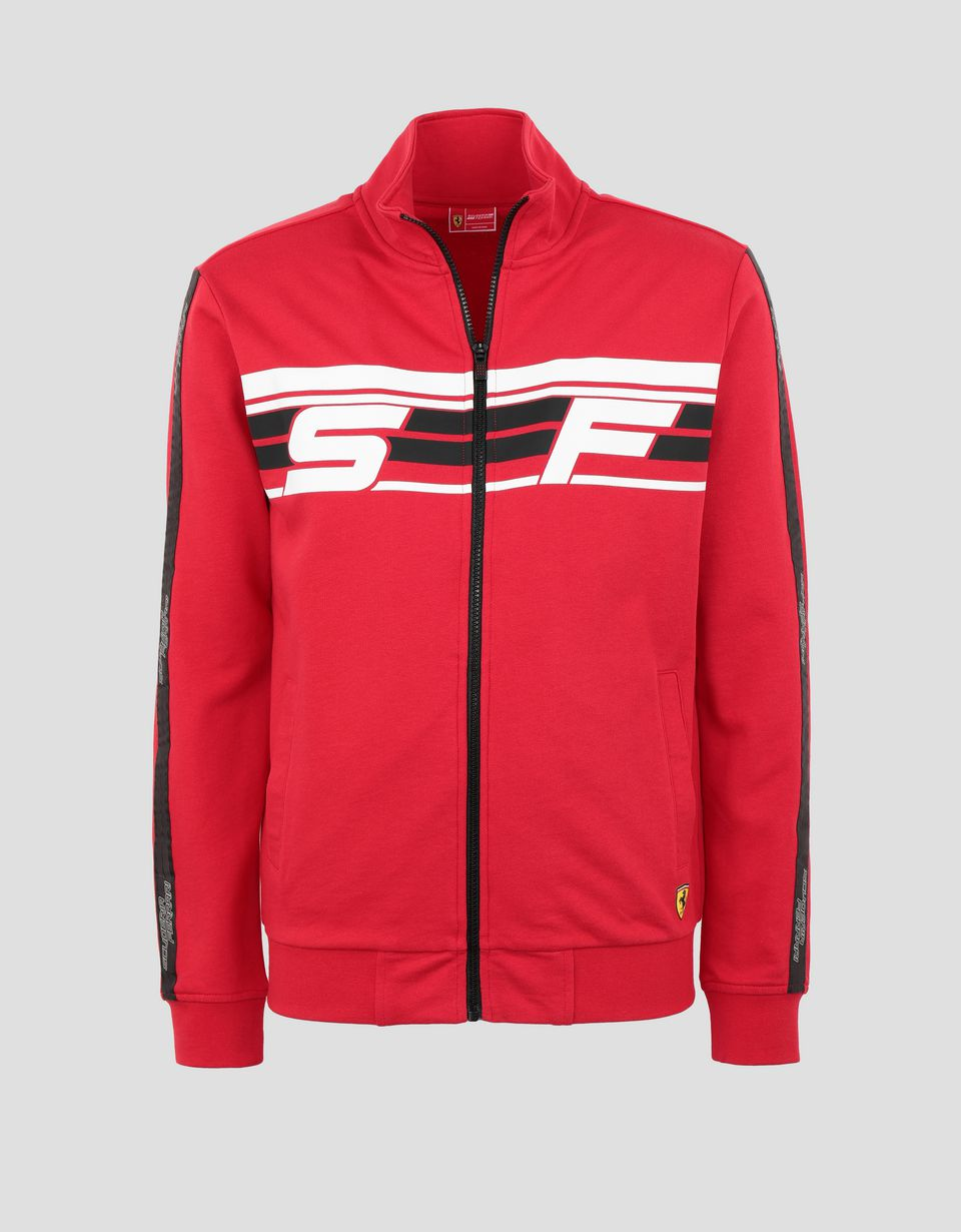 Scuderia Ferrari Online Store - Men's sweater in French Terry with full zip - Zip Jumpers