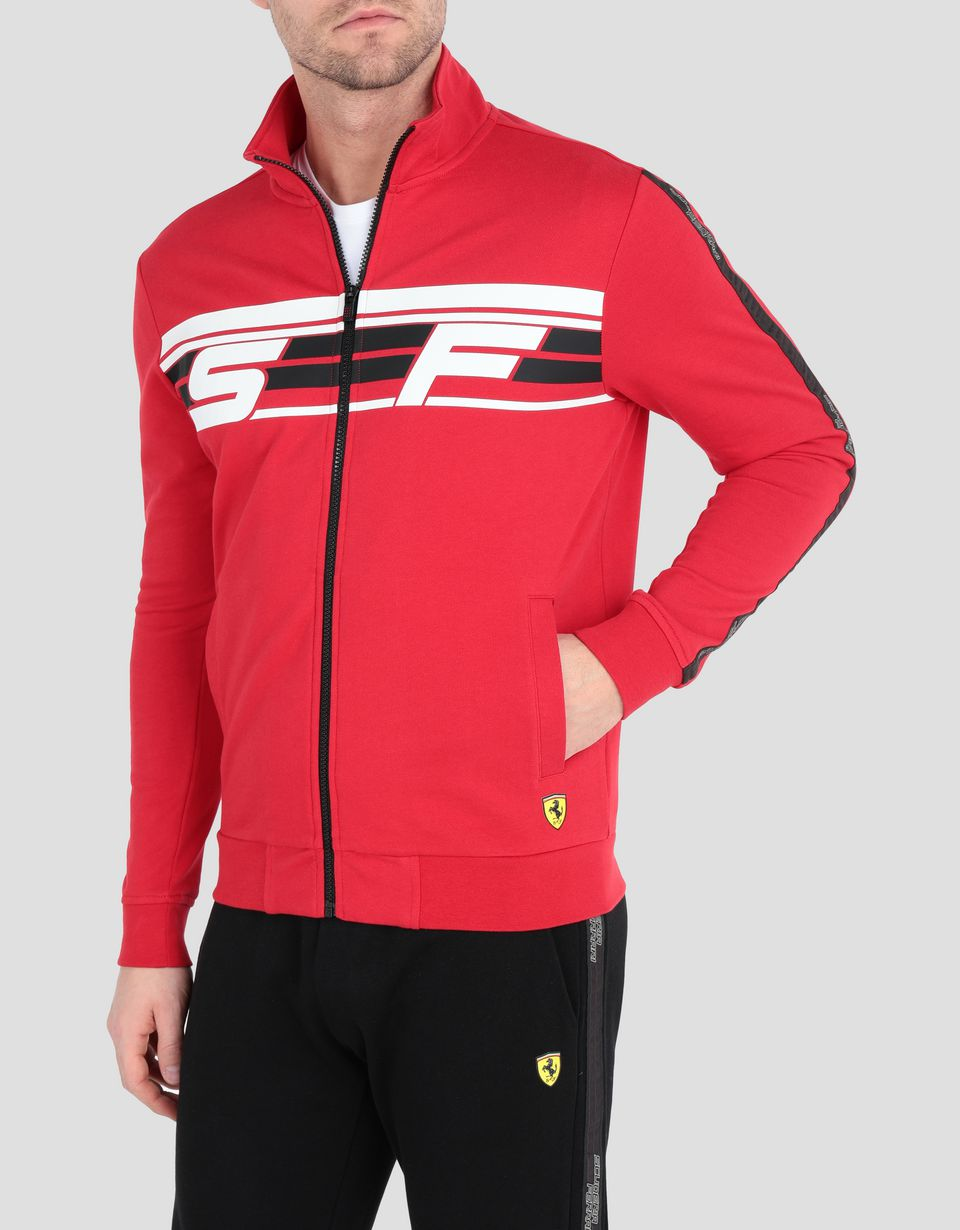 Scuderia Ferrari Online Store - Men's full zipper French terry sweatshirt - Zip Sweaters