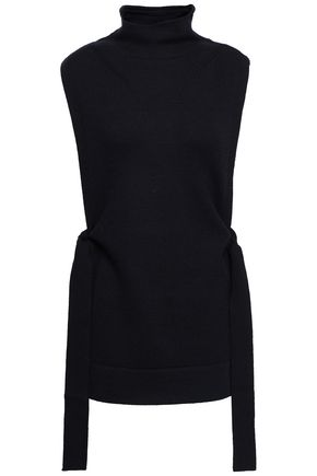 VICTORIA, VICTORIA BECKHAM Lace-up ribbed wool turtleneck top