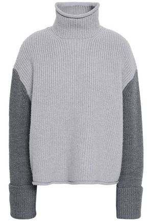 VICTORIA, VICTORIA BECKHAM Color-block ribbed wool turtleneck sweater