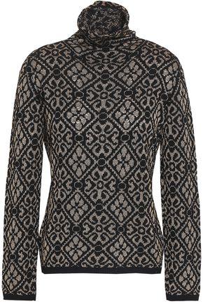 ETRO Metallic jacquard-knit turtleneck top