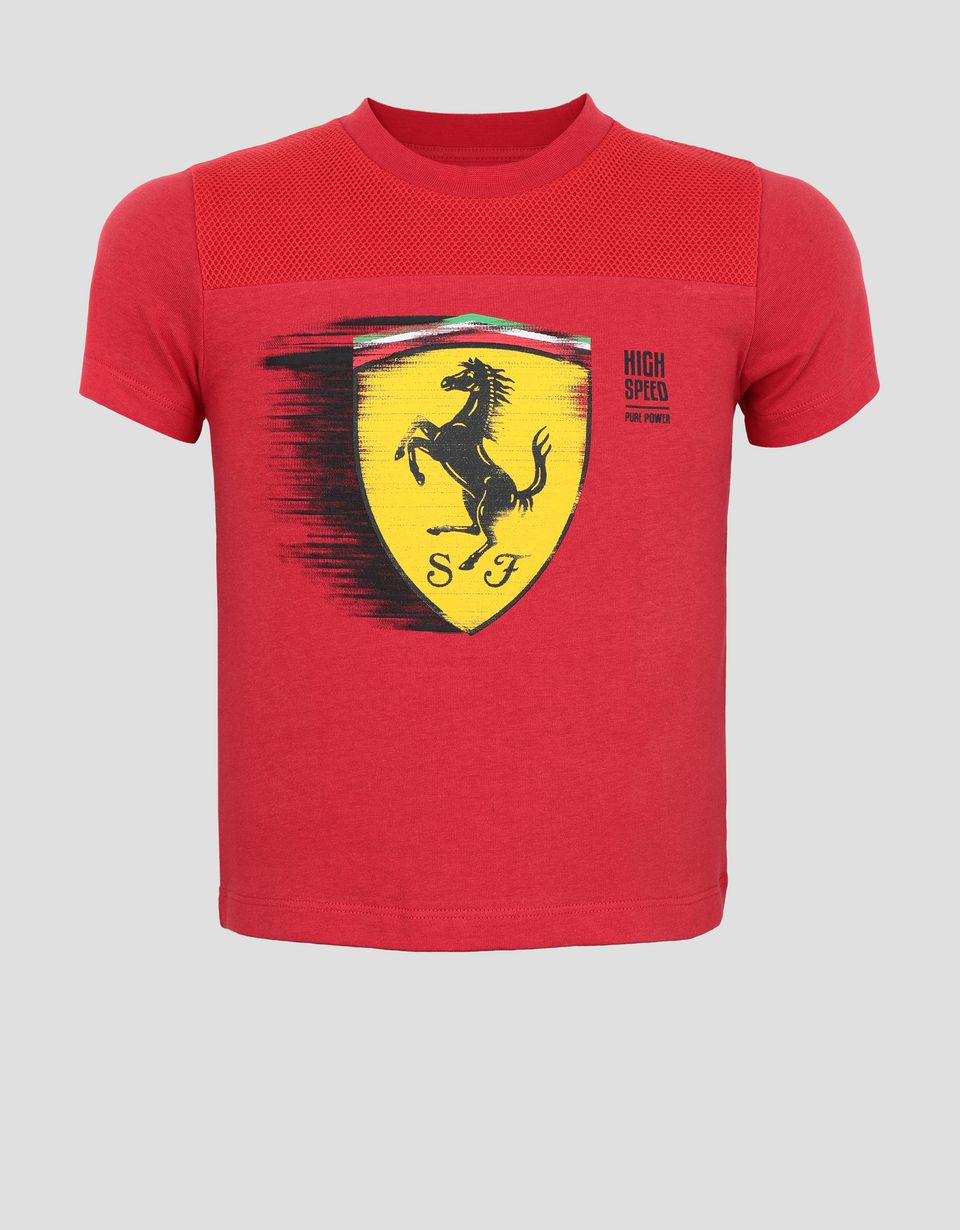 Scuderia Ferrari Online Store - Children's T-shirt with dynamic printed Ferrari Shield - Short Sleeve T-Shirts