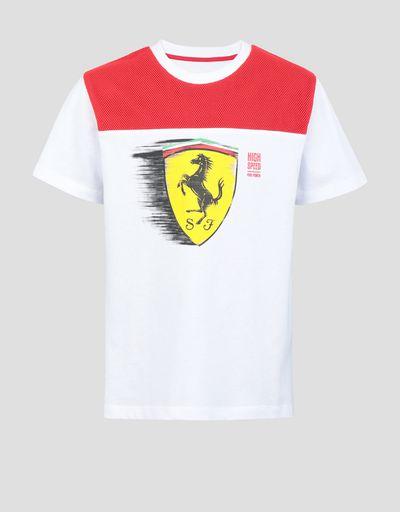 ab020e45d32e01 Boys  T-shirt with dynamic printed Ferrari Shield ...