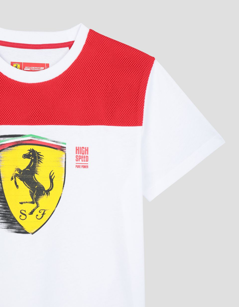 Scuderia Ferrari Online Store - Boy's T-shirt with dynamic Ferrari Shield print -