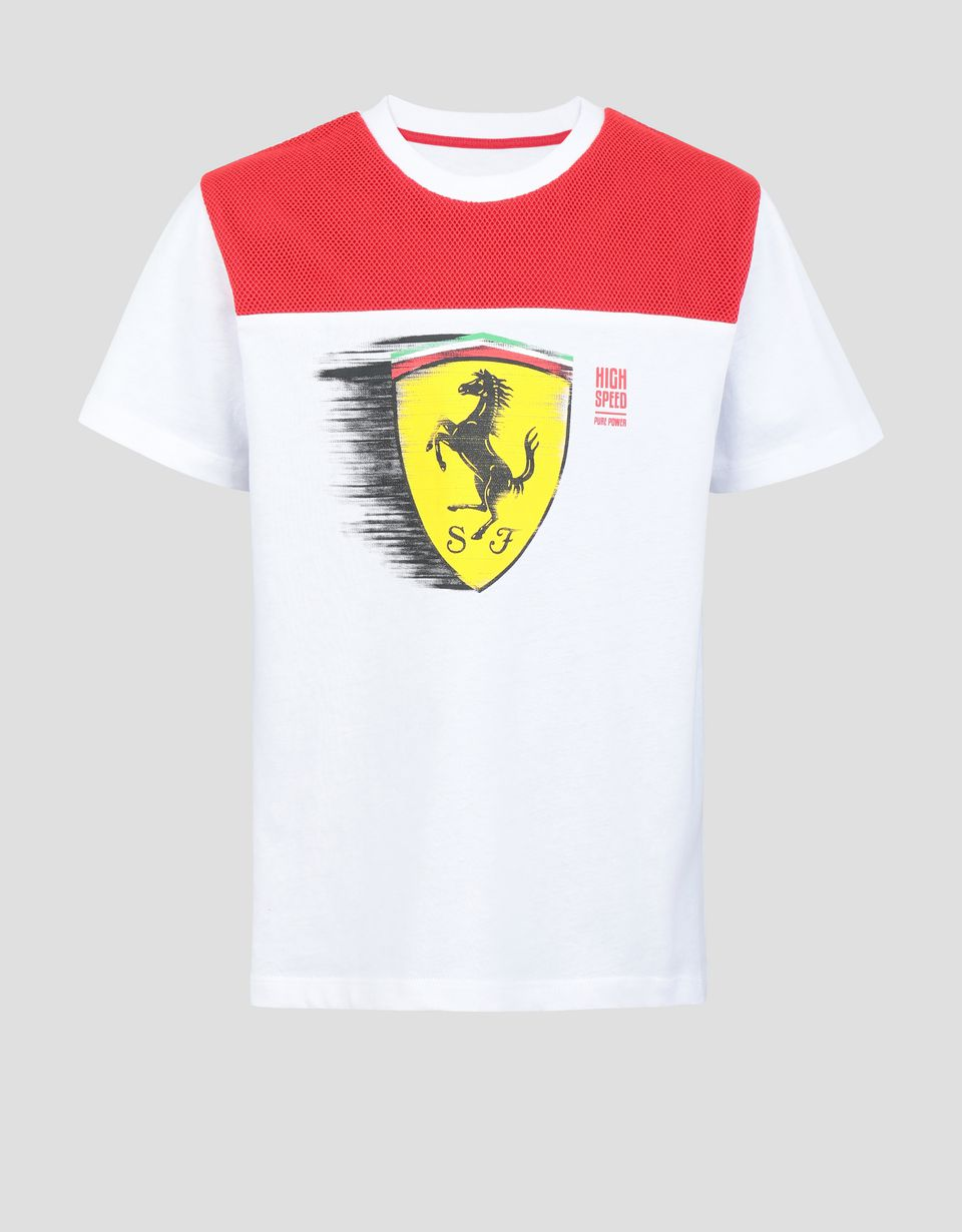 Scuderia Ferrari Online Store - Boys' T-shirt with dynamic printed Ferrari Shield - Short Sleeve T-Shirts