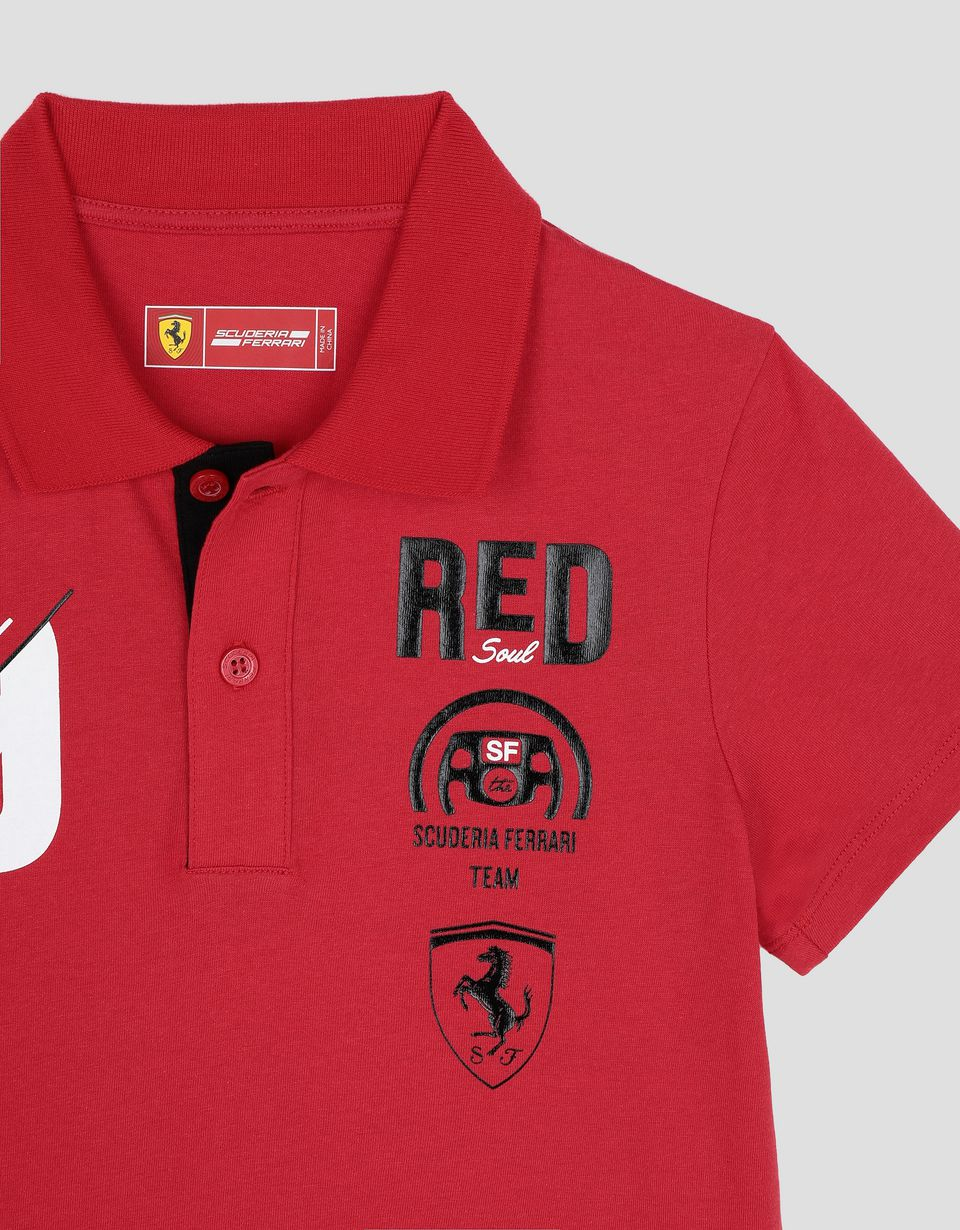 "Scuderia Ferrari Online Store - Boy's cotton polo shirt with ""RACE"" print - Short Sleeve Polos"