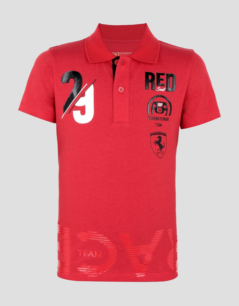 Scuderia Ferrari Online Store - Boy's cotton polo shirt with RACE print - Short Sleeve Polos
