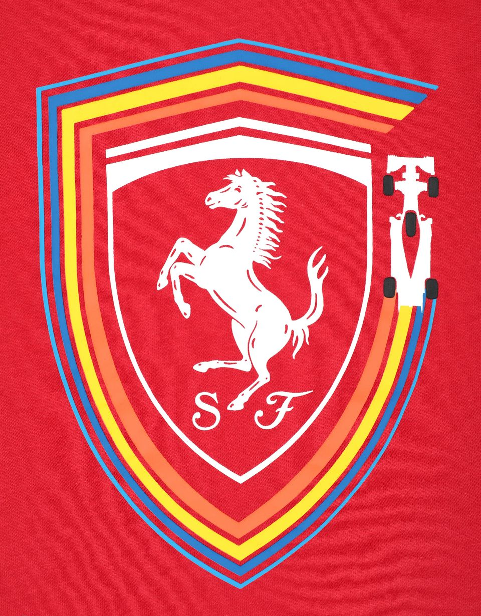 Scuderia Ferrari Online Store - Boys' cotton T-shirt with Ferrari Shield - Short Sleeve T-Shirts