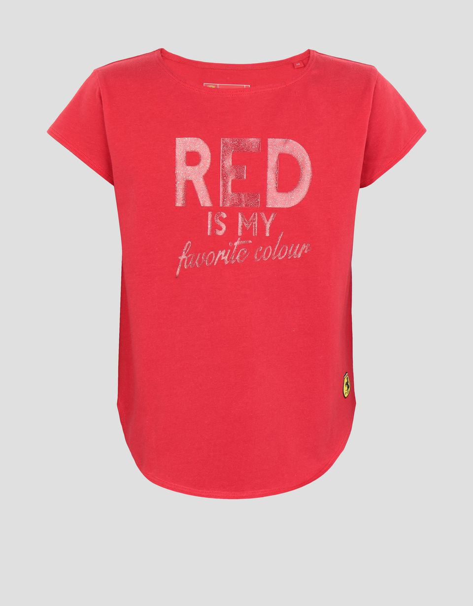 "Scuderia Ferrari Online Store - Girls' T-shirt with ""RED IS MY FAVORITE COLOUR"" in glitter print -"