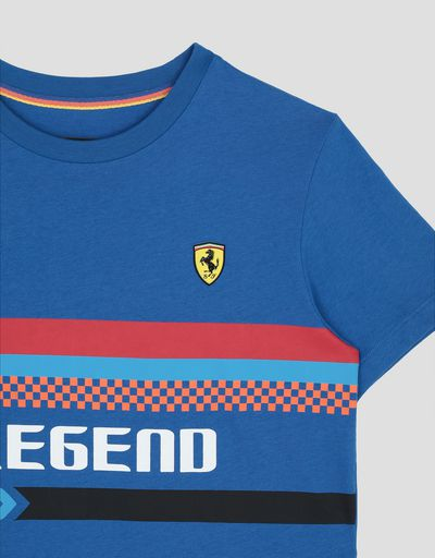 Scuderia Ferrari Online Store - Boy's cotton T-shirt with LEGEND print - Short Sleeve T-Shirts