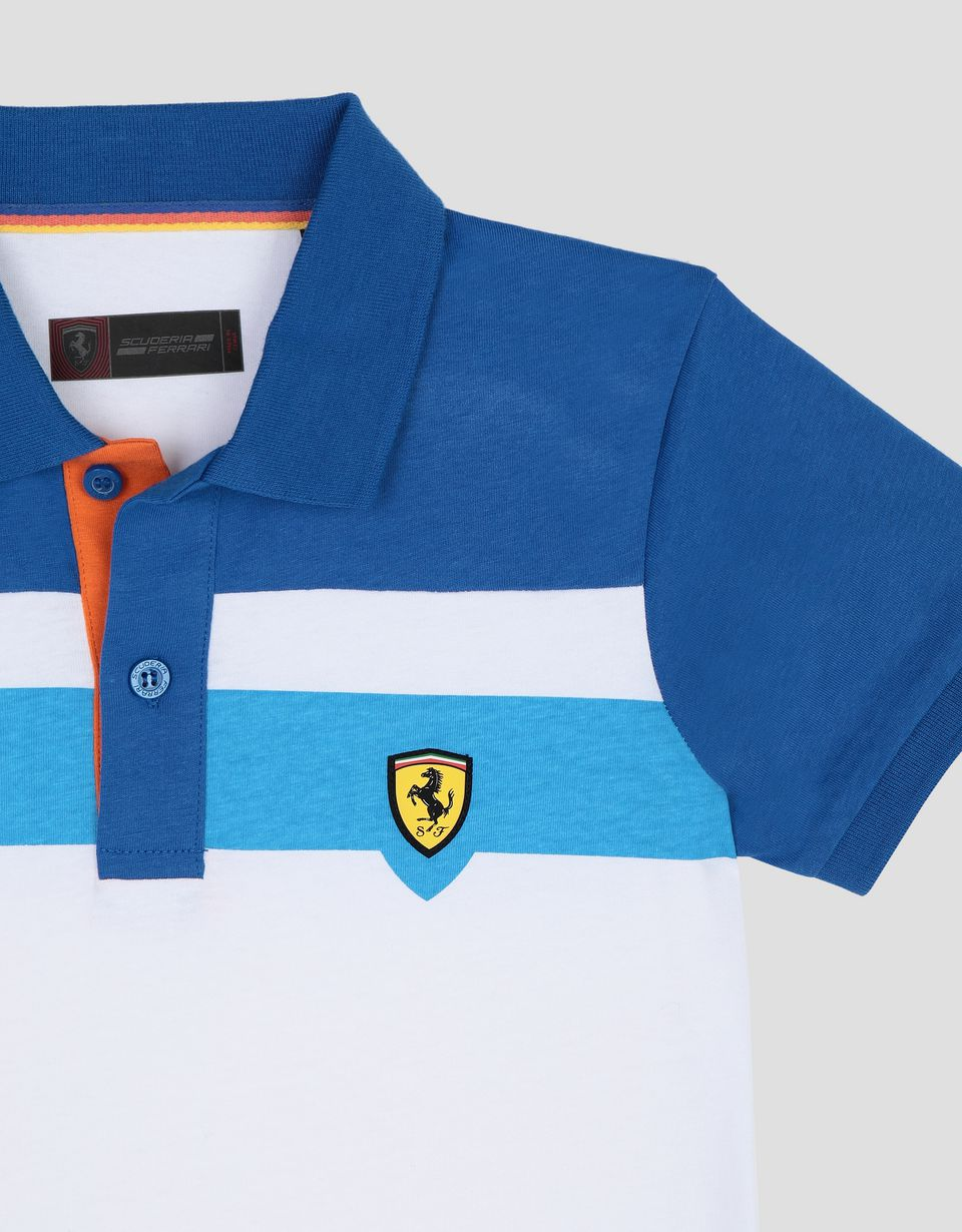 Scuderia Ferrari Online Store - Boy's cotton polo shirt with coloured stripes - Short Sleeve Polos