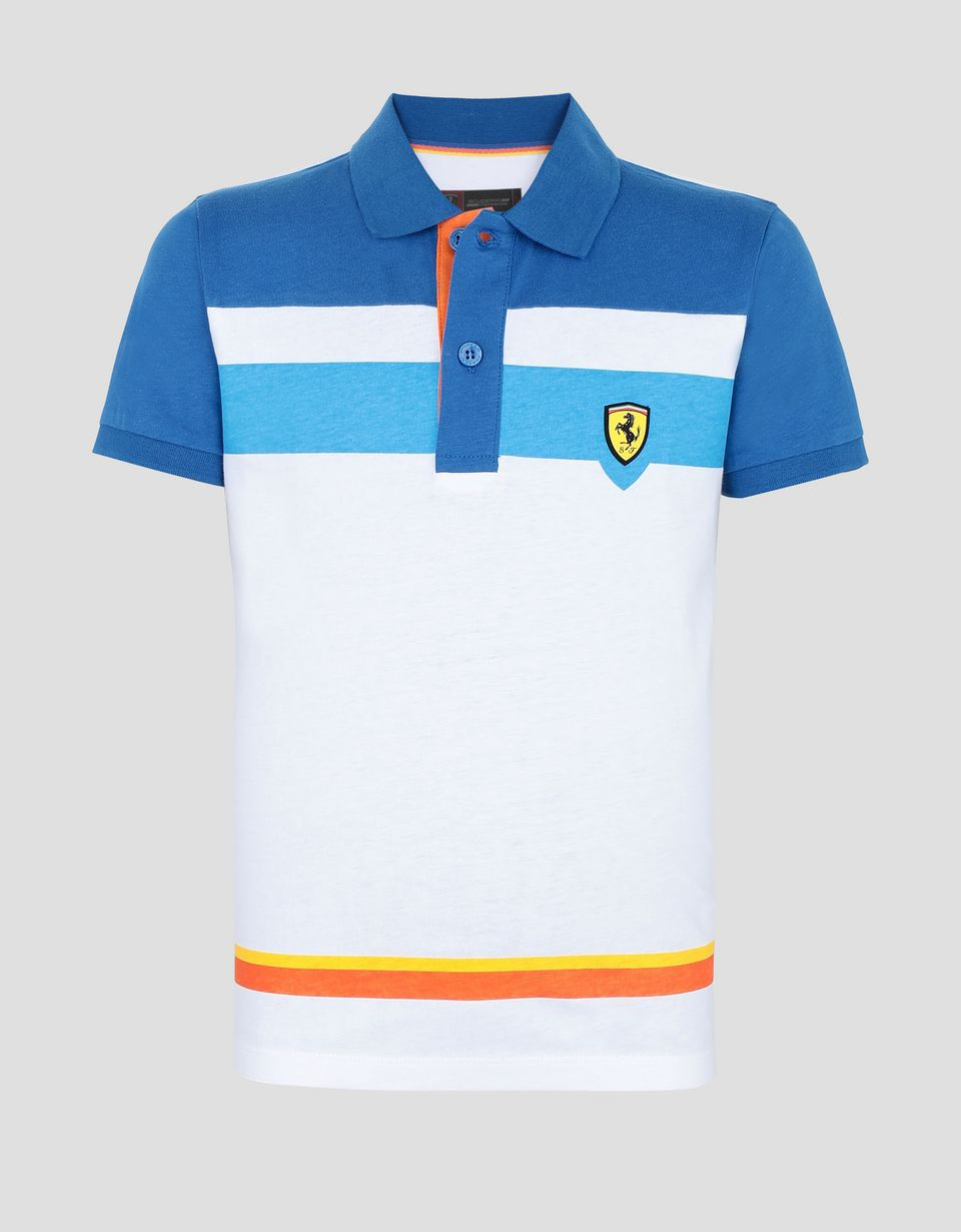 Scuderia Ferrari Online Store - Boys' cotton polo shirt with colorful stripes - Short Sleeve Polos