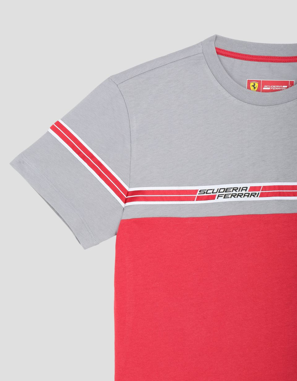 Scuderia Ferrari Online Store - Boys' T-shirt with Scuderia Ferrari Icon Tape - Short Sleeve T-Shirts