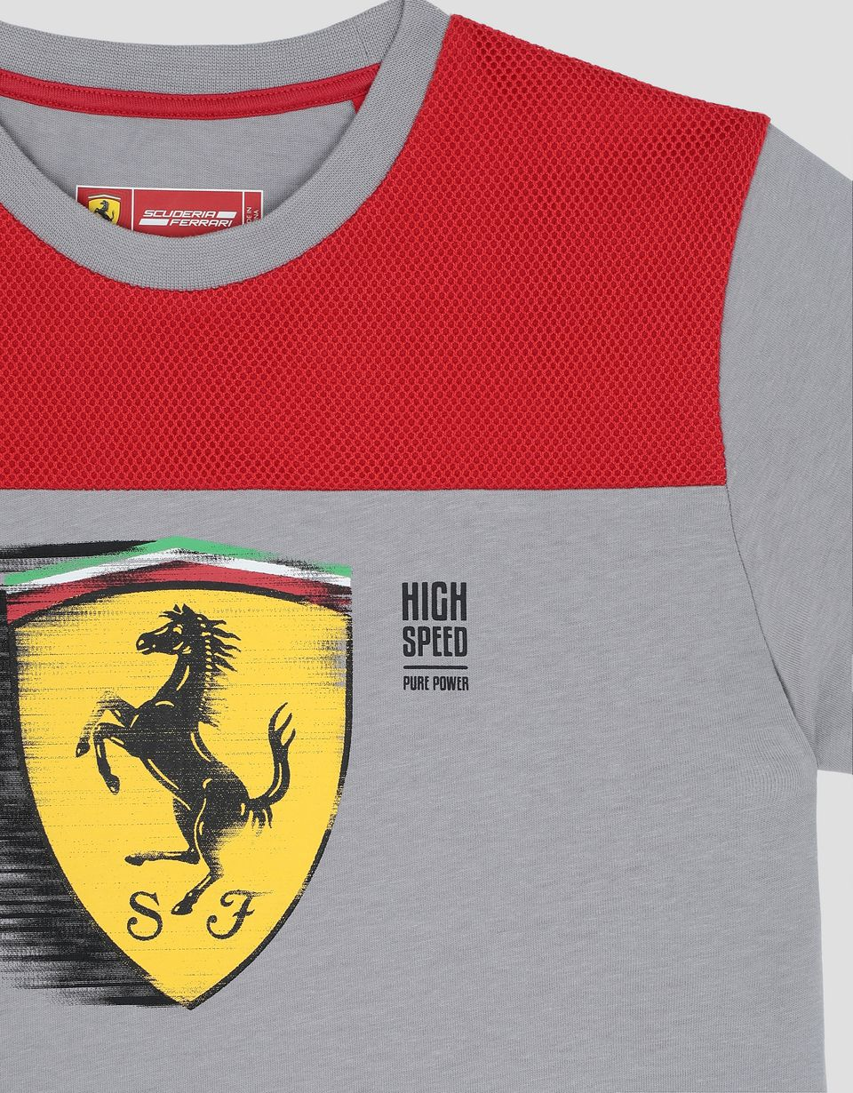 Scuderia Ferrari Online Store - Boy's T-shirt with dynamic Ferrari Shield print - Short Sleeve T-Shirts