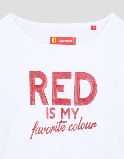 Scuderia Ferrari Online Store - Girl's T-shirt with glitter print RED IS MY FAVORITE COLOUR - Short Sleeve T-Shirts