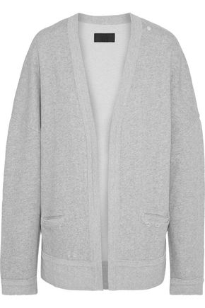 RTA Distressed mélange cotton-fleece cardigan