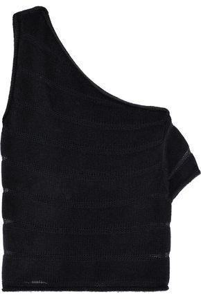 RTA Sloane one-shoulder open knit-trimmed cashmere top