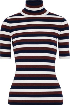VICTORIA BECKHAM Striped wool-blend turtleneck sweater