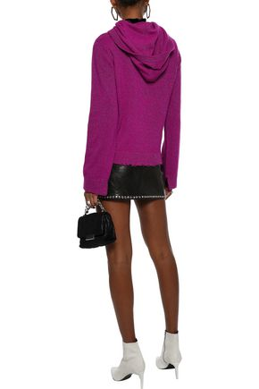 RTA Ainsley distressed metallic cashmere hooded sweater