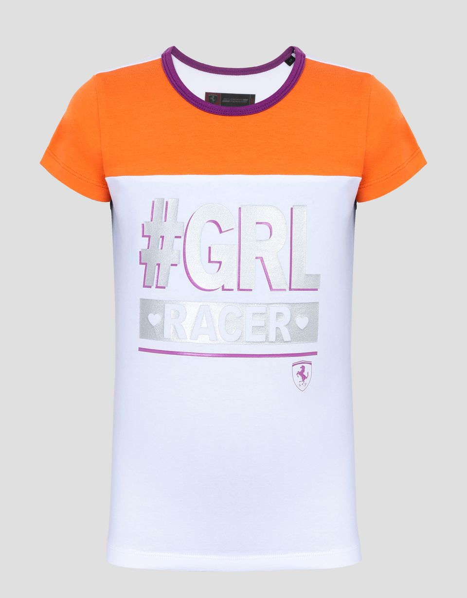 Scuderia Ferrari Online Store - Girl's T-shirt with #GIRL RACER laminated print - Short Sleeve T-Shirts