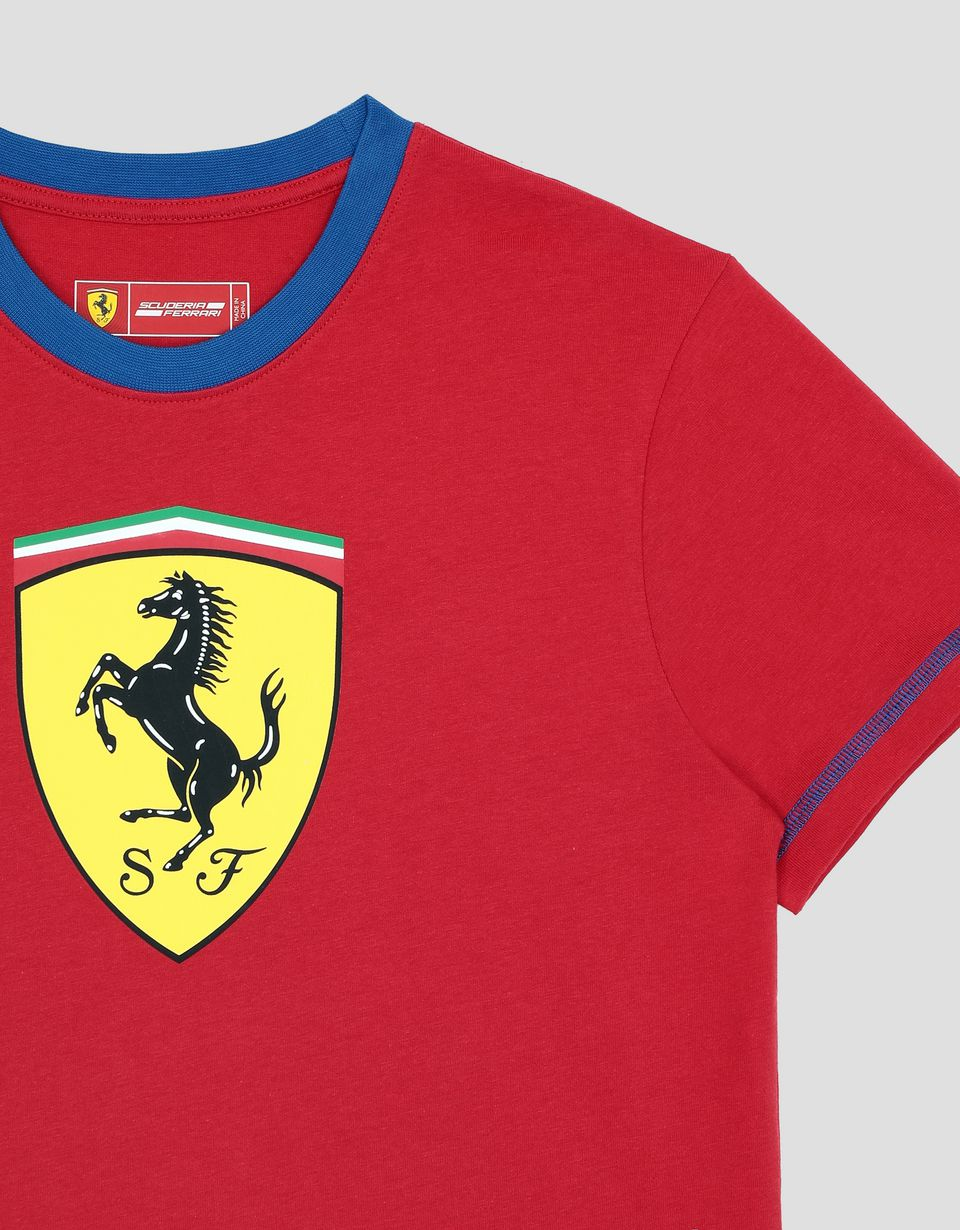 Scuderia Ferrari Online Store - Scuderia Ferrari boy's T-shirt in cotton jersey with contrast stitching - Short Sleeve T-Shirts