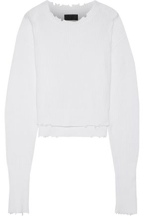 RTA August cropped distressed cotton sweater