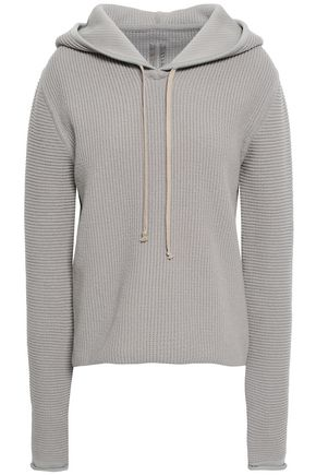 RICK OWENS Ribbed-knit hooded sweater