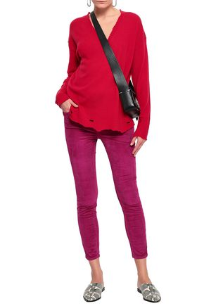 Current Elliott Current/Elliott Woman Distressed Wool And Cashmere-Blend Sweater Crimson