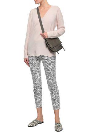 Current Elliott Current/Elliott Woman Distressed Wool And Cashmere-Blend Sweater Pastel Pink