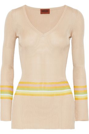 MISSONI Striped ribbed silk-blend top