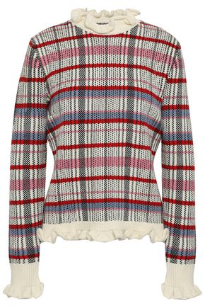 SHRIMPS Ruffle-trimmed checked wool sweater