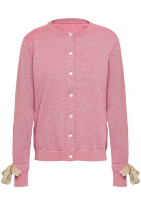 SHRIMPS Bow-detailed metallic wool-blend cardigan
