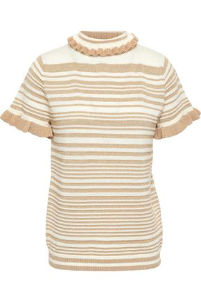 SHRIMPS Metallic striped wool-blend jacquard-knit top